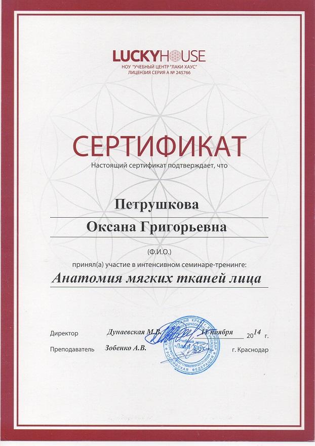 Сертификат по работе с тканями лица