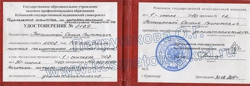 Удостоверение врача дерматолога Петрушковой